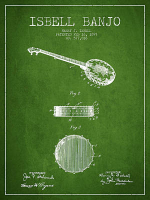 Isbell Banjo Patent Drawing From 1897 - Green Art Print by Aged Pixel