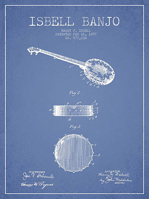 Isbell Banjo Patent Drawing From 1897 - Light Blue Art Print by Aged Pixel