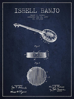 Isbell Banjo Patent Drawing From 1897 - Navy Blue Art Print by Aged Pixel