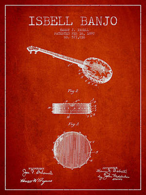 Banjo Wall Art - Digital Art - Isbell Banjo Patent Drawing From 1897 - Red by Aged Pixel