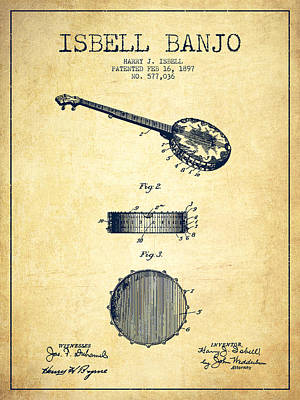 Isbell Banjo Patent Drawing From 1897 - Vintage Art Print by Aged Pixel