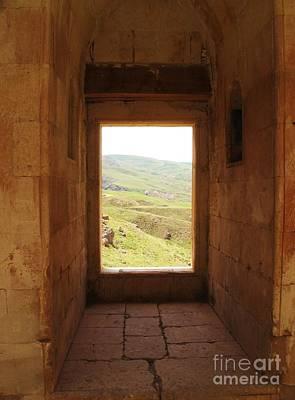 Ishak Pasha Palace Window To Surrounding Hillside Print by Cimorene Photography