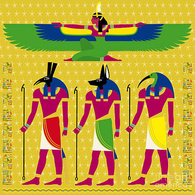 Osiris Mixed Media - Isis And Eygptian Gods by Neil Finnemore