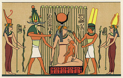 Papyrus Drawing - Isis She Suckles Horus In The  Papyrus by Mary Evans Picture Library