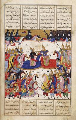 Iskandar Fights The Zangis Print by British Library