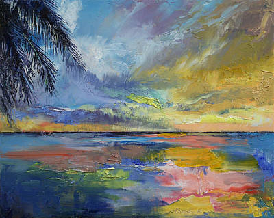 Abstract Seascape Painting - Islamorada Sunset by Michael Creese