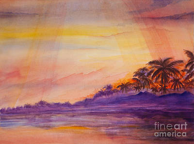 Watercolor Painting - Islamorada Sunset by Michelle Wiarda-Constantine