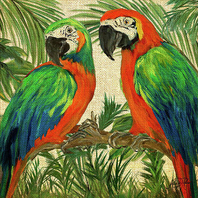 Macaw Wall Art - Painting - Island Birds Square On Burlap I by Julie Derice