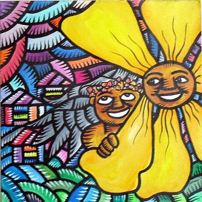 Painting - Island Girl And Sun Flower by Marconi Calindas