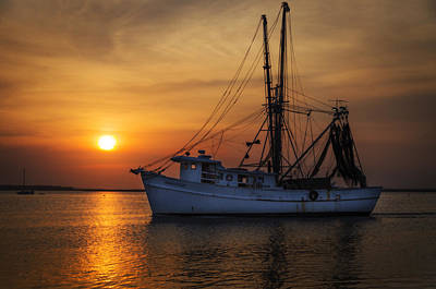Island Girl Shrimp Boat Art Print by  Island Sunrise and Sunsets Pieter Jordaan