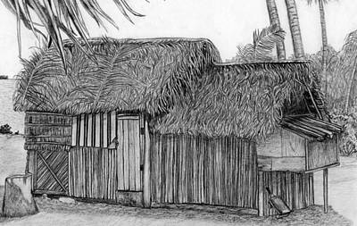 Art Print featuring the drawing Island House 1 by Lew Davis