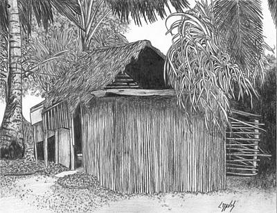 Drawing - Island House 14 by Lew Davis
