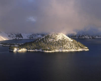 Crater Lake National Park Photograph - Island In A Lake, Wizard Island, Crater by Panoramic Images
