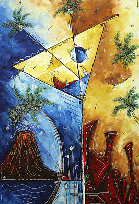 Martinis Painting - Island Martini  Original Madart Painting by Megan Duncanson