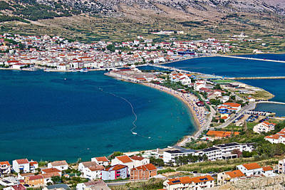 Photograph - Island Of Pag Bay Aerial View by Brch Photography