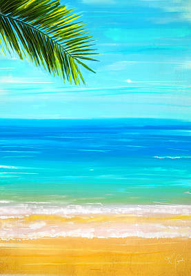 Surfing Art Painting - Island Paradise by Lourry Legarde