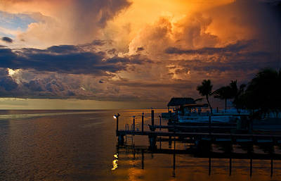 Photograph - Tropical Island Storm Over Florida Keys Docks by Ginger Wakem