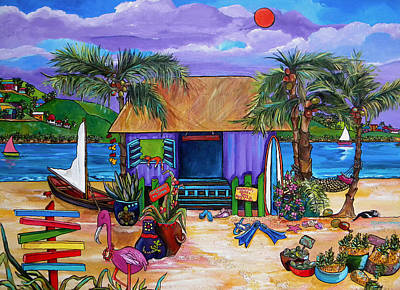 Caribbean House Painting - Island Time by Patti Schermerhorn