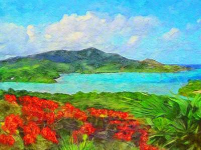 Painting - Island View With Flamboyant - Horizontal  by Lyn Voytershark