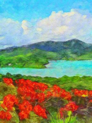 Painting - Island View With Flamboyant - Vertical 1 by Lyn Voytershark