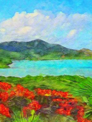 Painting - Island View With Flamboyant - Vertical 2 by Lyn Voytershark