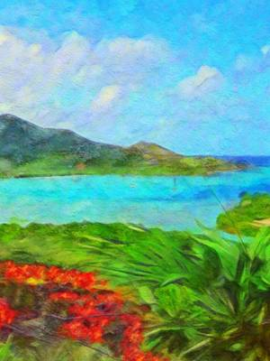Painting - Island View With Flamboyant - Vertical 3 by Lyn Voytershark