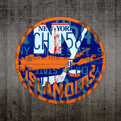 Hockey Mixed Media - Islanders Hockey Team Retro Logo Vintage Recycled New York License Plate Art by Design Turnpike