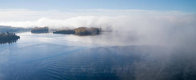 Aerial Photograph - Islands In The Fog. Big Cedar Lake. by Rob Huntley