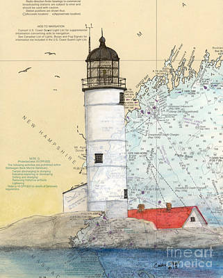 New England Lighthouse Painting - Isle Of Shoals Lighthouse Nh Nautical Chart Map Art by Cathy Peek