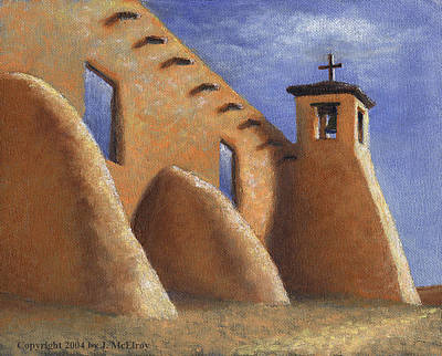 Crucifix Painting - Isleta Pueblo Church by Jerry McElroy