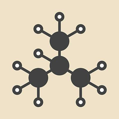 Isobutane Alkane Molecule Print by Molekuul