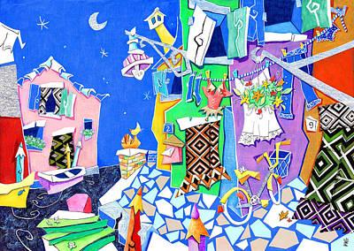 Colored Pencil Mixed Media - Isola Di Burano - Island Venice Italy by Arte Venezia