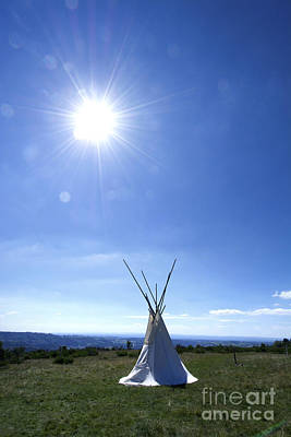 Tipi Photograph - Isolated Teepee In A Field by Bernard Jaubert
