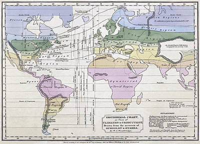Isothermal Map Of The World Art Print by William C Woodbridge