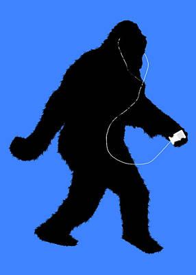 Music Ipod Digital Art - iSquatch - on Blue by Gravityx9 Designs
