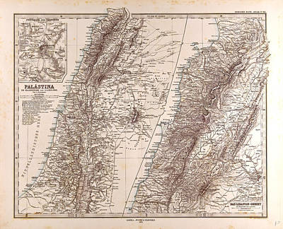 Images For Publishing Drawing - Israel Palestine Jerusalem Map Gotha Justus Perthes 1875 by Israeli School