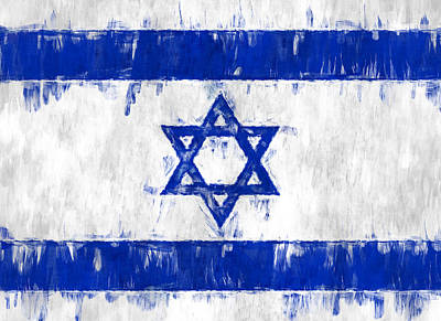 Star Of David Photograph - Israel Star Of David Flag Painted by Kurt Van Wagner