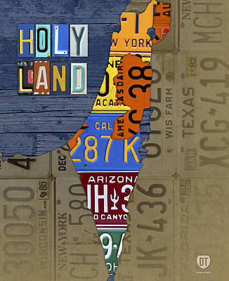 Israel The Holy Land Map Made With Recycled Usa License Plates Art Print