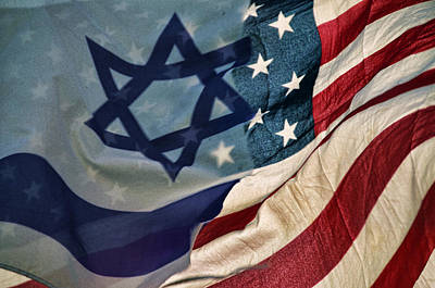 Photograph - Israeli American Flags by Ken Smith