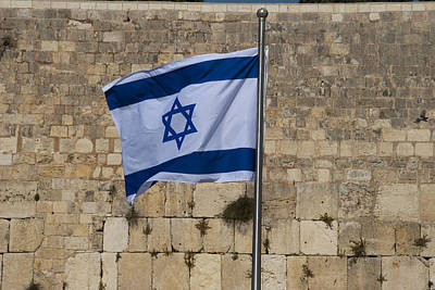 Photograph - Israeli Flag At Western Wall by Daniel Blatt