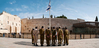 Wailing Wall Photograph - Israeli Soldiers Being Instructed by Panoramic Images
