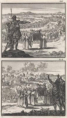 Jordan Drawing - Israelites Over Jordan Fall Of Jericho Biblical by Quint Lox