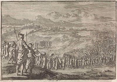 Jordan Drawing - Israelites Pass Through The Dry Jordan, Jan Luyken by Jan Luyken And Pieter Mortier