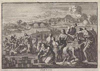 Slaves Drawing - Israelites Work As Slaves In Egypt, Jan Luyken by Jan Luyken And Pieter Mortier