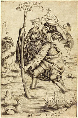 Saint Christopher Drawing - Israhel Van Meckenem After Master Of The Housebook German by Quint Lox