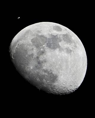 Iss And The Moon Art Print by Science Photo Library