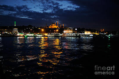 Photograph - Istanbul Bosphorus Port Night by Haleh Mahbod