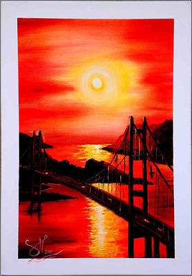 Wet On Wet Painting - Istanbul Bridge by Shirwan Ahmed