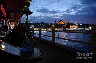 Photograph - Istanbul Galata Bridge At Night by Haleh Mahbod