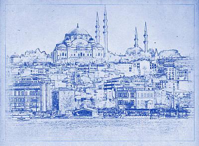 Istanbul Skyline Blueprint Art Print
